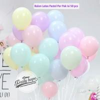 Balon Latex Macaron 1 PACK ISI 50 Pcs / Balon Pastel / Balon Karet - mix