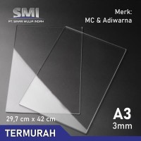 Akrilik Lembaran Potongan A3 3 MM Bening - SMI Store
