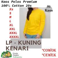 Kaos Polos Unisex Cotton Combed 20s Lengan Panjang Warna Kuning Kenari - XS