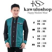 baju koko hijau hitam kotif terbaru/seragam hadroh/baju Koko gus asmi
