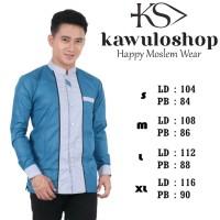 Baju Koko biru muda motif terbaru/Baju Koko gus asmi terbaru