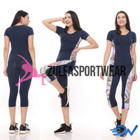 Baju senam aerobik set baju olahraga jumbo wanita biru