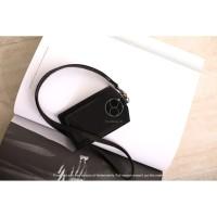 ID Card Patuk Kalung Premium Badge Leather Clip Warna Hitam