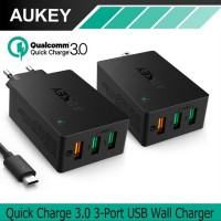 TERBARU AUKEY CHARGER 3 USB PORTS QUICK CHARGE 3 0 WALL CHARGER PA T1