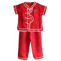PROMO celana setelan baju imlek anak cowo laki merah list motif ch