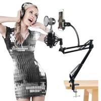 Microphone Arm Stand mic Condenser Smartphone hp holder Lazypod D6