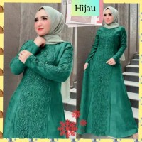 baju gamis muslim wanita jumbo xxl dress mix brukat pesta hijau