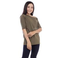 Amber Top - Atasan One Shoulder Blouse Wanita Off Shoulder Asymmetric - OLIVE