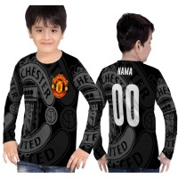 Kaos Baju Panjang Anak MANCHESTER UNITED Fullprint Sublim S - 2xl