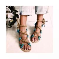 Wanita Anti Panas Sandal Pantai untuk Model Slip Gladiator Musim Flat