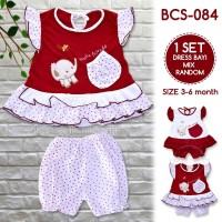 Baju Bayi Perempuan BCS-084 Setelan Dress Baru Lahir 1 Set Murah Lucu