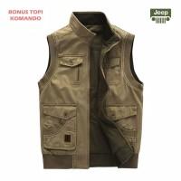 Jaket Rompi Jeep - Outdoor Vest - Original Import - Warna Tan Army