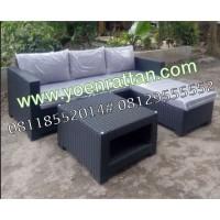 Kursi / Sofa Tamu L Set Rotan Sintetis