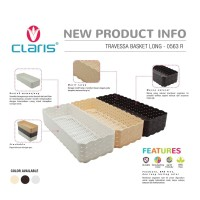 Claris Travessa Long Keranjang anyaman rotan plastik - 0563 Coklat