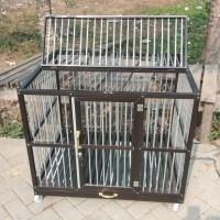 Kandang Anjing Aluminium Anti Karat Pintu Atas Roda Kunci - NAP Store