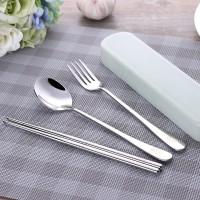 Sendok Garpu Sumpit Korea Set + Kotak Paket Cutlery Sujeo Stainless