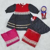 Baju Muslim Newborn Gamis Baby Set Jilbab Instant Renda Gold