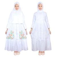Fayrany FGP-014 Baju Muslim Gamis Anak Putih Size 6 - 15 - Bordir Putih, 7 Tahun