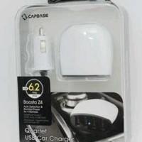 Capdase- Quartet 4 Usb Car Charger Mobil Iphone Ipad Samsung Xiaomi Hp