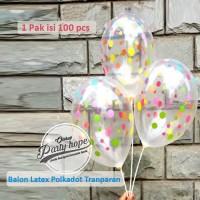 Balon Latex polkadot tranparan 1 PACK ISI 100 Pcs / Balon Karet totol
