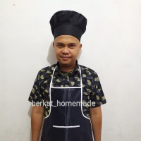 Celemek apron waterproof dan Topi chef koki Set bahan premium drill