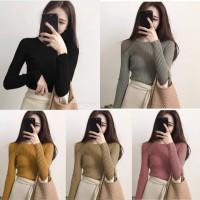 Agata Rajut Blouse Lengan Panjang Rajut Baju Wanita Baju Cewek Import
