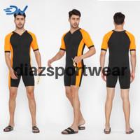 Baju renang pria jumbo baku renang diving cowo celana renang laki-laki - Orange, S
