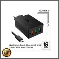CUCI GUDANG Aukey Charger 3 Ports 42W QC 3 0 AiQ 500293 berkualitas