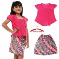 S-M Kebaya Anak KutuBaru Batik Parang Baju Kartini Kutu Baru - Pink