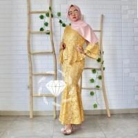 gamis duyung Denara gold baju muslim pesta dress seragaman mermaid at