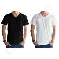 Kaos Polos V-neck hitam putih baju pria wanita cotton combed 32s - Putih, XS