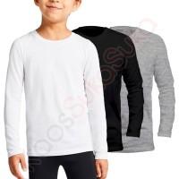 Kaos Polos anak Lengan Panjang putih hitam abu misty baju combed 32s