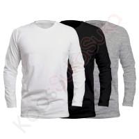 Kaos Polos Lengan Panjang dewasa putih hitam abu misty baju combed 32s