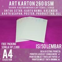 Kertas Art Karton 260 gsm A4 isi 50 lbr / Carton Paper Glossy 260 gram