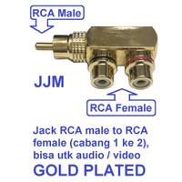 Jack RCA male to Female 1 ke 2 utk speaker Audio VIdeo gold emas