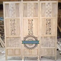 Sketsel 3 pintu jati unik - Partisi sekat/ penyekat ruangan antik ukir