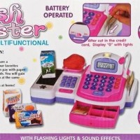 mainan kasir kasiran cash register besar + MIC + keranjang lengkap