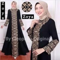 Baju muslim wanita gamis dress maxi syari abaya arab hitam bordir zoya