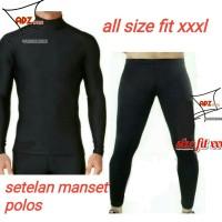 Setelan manset baselayer panjang hitam polos / baju celana manset