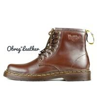 Sepatu Boots Pria Boots Casual Kulit Asli Docmart 1080 - COKELAT, 39