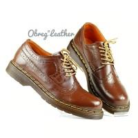 Sepatu Boots Pria Low Boot Wingtip Kulit Asli Like Docmart 1061-Coklat