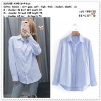AB451649 Baju Atasan Kemeja Garis Wanita Blouse Korea Import Biru Blue