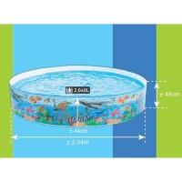 Kolam Renang Anak Tanpa Tiup Deep Blue Sea Size Jumbo 244Cm Intex58472