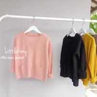 Little basic pocket / kardigan / kardigan anak / sweater / rajut