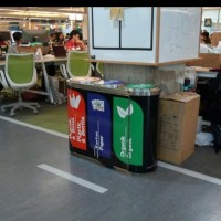 Tempat sampah stainlees/waste 3in1 capsul medium size