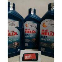 Stock terbatas Paket Oli Shell Helix HX 7 HX7 SAE 10W 40 3 liter Mura