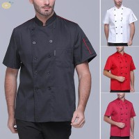 Mens T-shirt Uniform Vest Stand collar Solid Loose fit Casual Cook