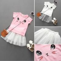 Setelan Kaos T-Shirt Anak Perempuan Lengan Pendek Gambar Kucing +