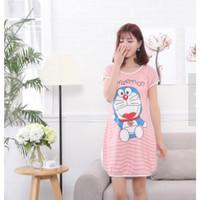 Baju Tidur Wanita Daster Lucu Doraemon Pink JE239-4 Import
