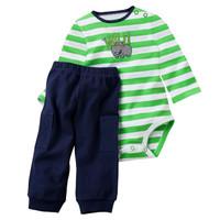 Baju Bayi Laki-laki Jumper Set First Movement Panjang Wild Strip Hijau - 3-6 Bulan